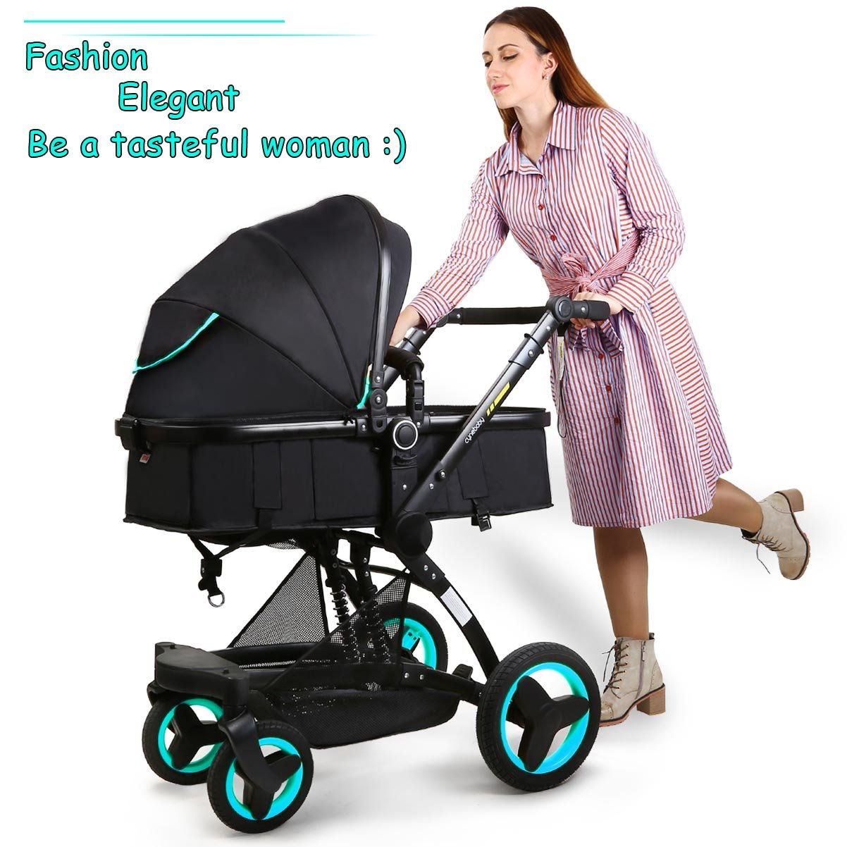 Baby stroller travel system folding pram pushchair infant toddler carriage high landscape (blue) by Cynebaby (Image #3)