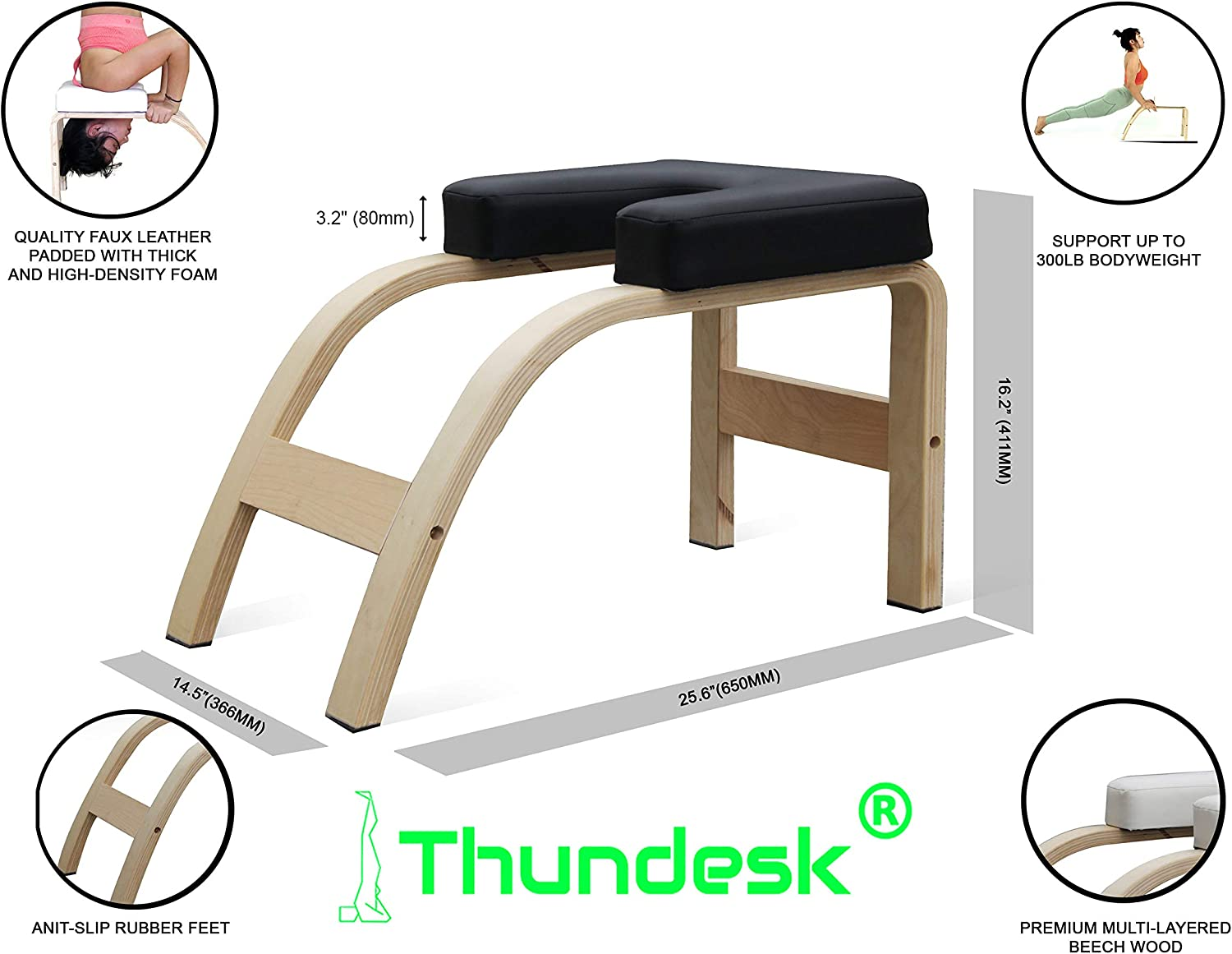 THUNDESK Yoga Inversion Bench Headstand Prop Upside Down Chair for Feet Up and Balance Training Core Strength Building Backbends Yoga Asana Practice ...