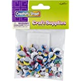 Creativity Street Peel and Stick Wiggle Eyes Assorted Painted, 7mm to 15mm, Painted, 100-Pack