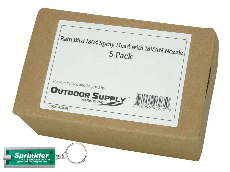 Rain Bird 1804 Spray Head with 18van Nozzle; 0° to 360° Adjustable; 18' Radius with a Free SprinklerPartsWholesale Flashlight Keychain with Every Order! (5)