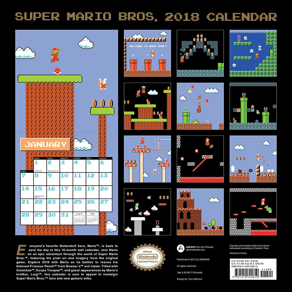 2018 wall calendar retro art art from the original game nintendo 9781419724619 amazoncom books