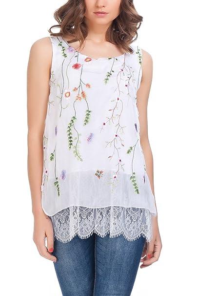 Laura Moretti - Blusa de Seda con Diseño Bordado Floral: Amazon.es: Ropa y accesorios