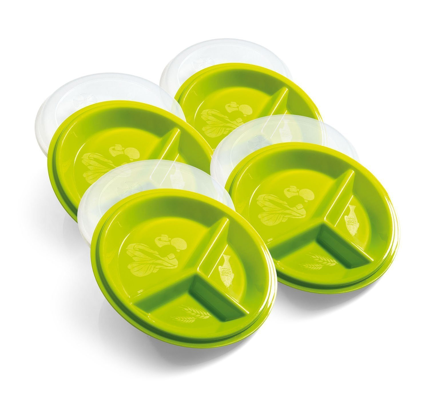 Precise Portions 4-Go Healthy Portion Control Plates - Pack of 4, 3-Section Plate with Leak-Proof Lids, Dishwasher & Microwave Safe, Helps Manage & Lose Weight, Metabolism & Blood Sugar