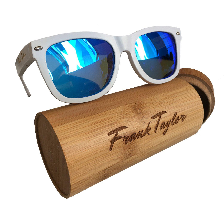 Wooden Sunglasses by Frank Taylor - White - Handmade - 1 Year Warranty- Polarized (Blue Lenses)