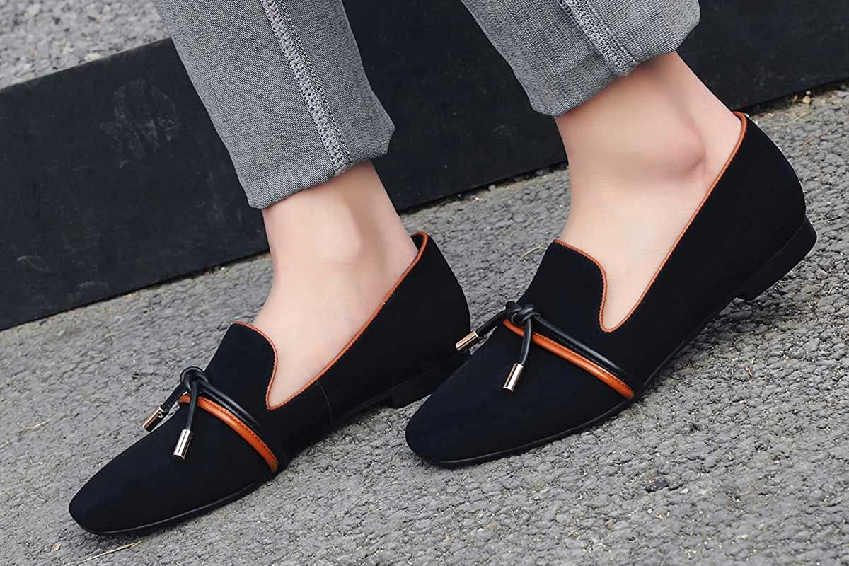 A-BUYBEA Womens Flats 0.4 Heeled Square-Toe Suede Leather Loafers Shoes Size 7.5 Black