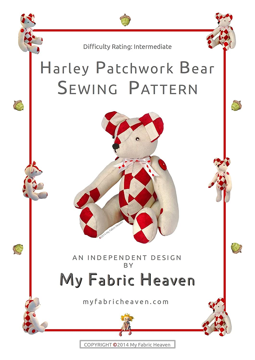 2 X Fabric Sewing PATTERNS Independent Design. 10 Inch Denim Elephant & 14 Inch Patchwork Teddy Memory Bear with Easy Tutorial Style Instructions. Ella Elephant & Harley Teddy Bear FREE POST My Fabric Heaven