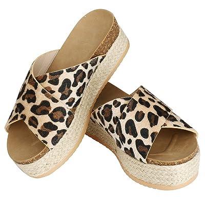 Women's Espadrille Platform Slide Sandals Slip On Flat Casual Criss Cross Summer Sandals   Platforms & Wedges