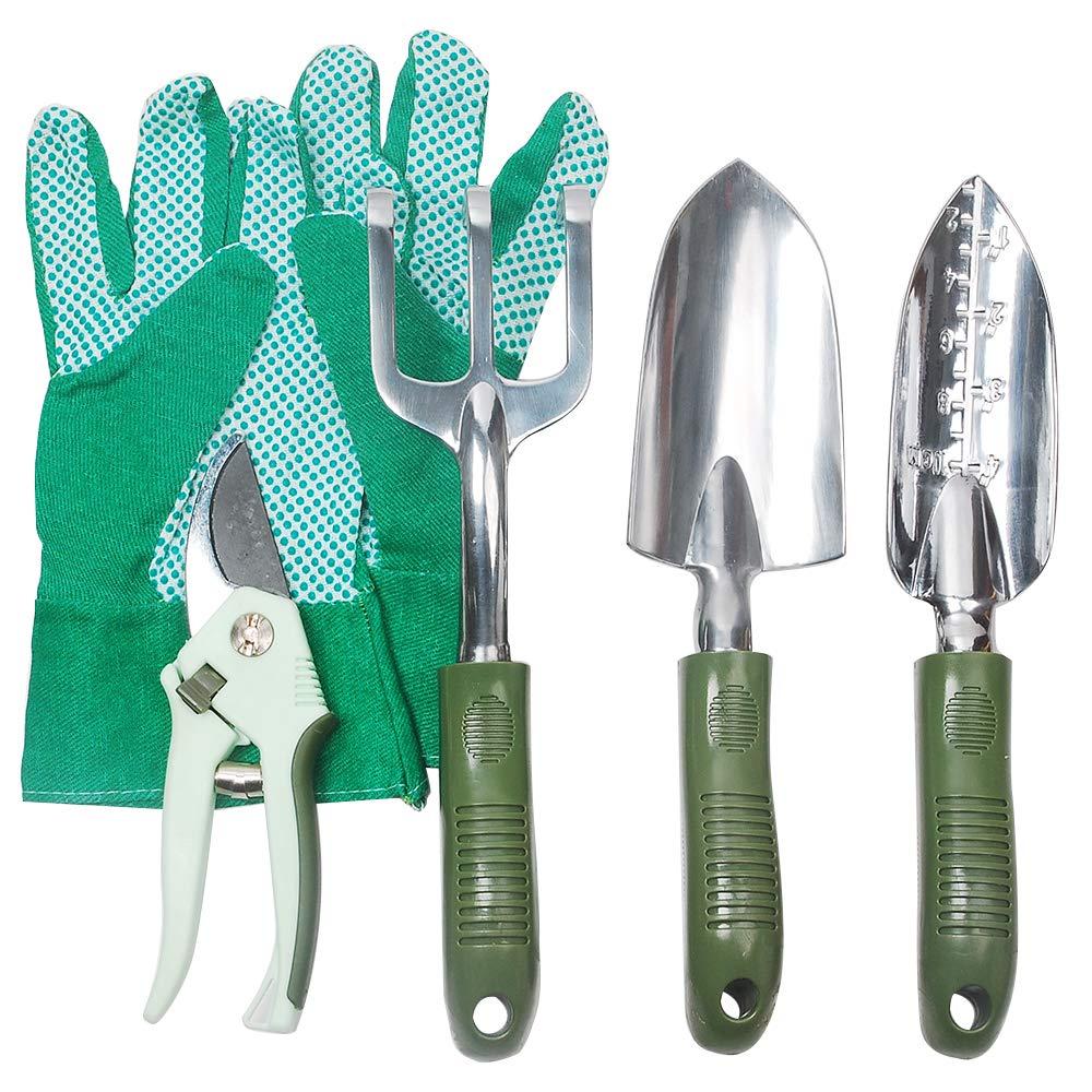 Hi-Spec Garden Tools Set of Yard Gardening Tools with Aluminum Garden Hand Tools, Hand Trowel, Hand Rake, Narrow Trowel, Pruning Shears Gardening Gloves – Gardening Kit 5 Piece
