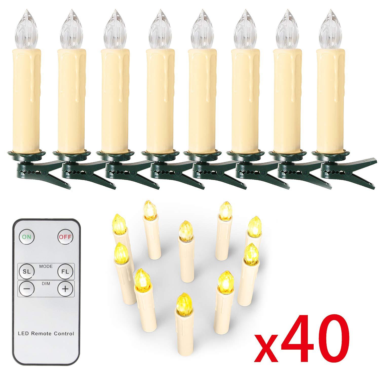 10/20/ 30/40 er Weinachten LED Kerzen Lichterkette Kerzen Weihnachtskerzen Weihnachtsbaum Kerzen mit Fernbedienung Kabellos (Beige, 20er) SunJas