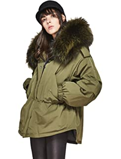 a67fcf3d1d089 Melody Women s Winter Down Coat Real Raccoon Fur Collar Hooded Parka 90%  White Duck Down