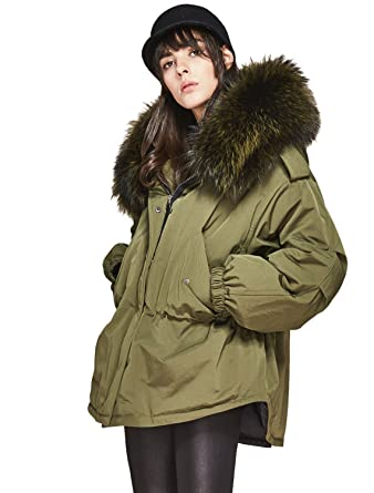 a4ab6e7ea6cb Melody Women s Winter Down Coat Real Raccoon Fur Hooded Parka 90% White  Duck Down Jacket