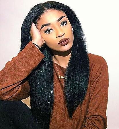 vebonnie Lace Front Peluca para las mujeres negras con aspecto realista negro Yaki Pelucas Pelucas de