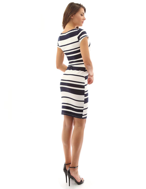 PattyBoutik Women Striped Crewneck Cap Sleeve Dress