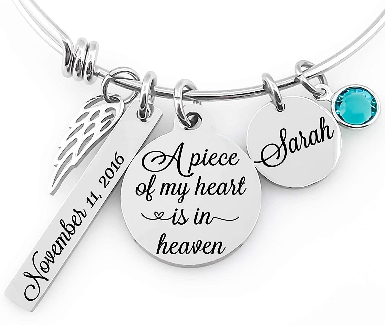 Memorial Jewelry Bangle Angel Wing /& Birthstone Crystal A piece of my heart lives in heaven Name Disc Bar Tag