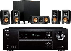 Klipsch Reference Theater Pack 5.1 Surround System Bundle with Onkyo TX-SR494 7.2-Channel 4K Ultra HD Hi-Res AV Receiver - Black
