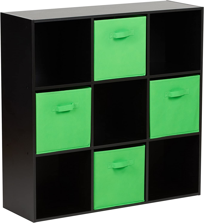 Hartleys Black 8 Cube Unit /& 4 Green Storage Drawers