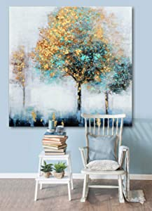 Fox Art Canvas Prints Wall Oil Paintings Landscape Forest Trees Hand Painted Nature Wall Art with Gold Metallic Foil Embellishments for Living Room Bedroom Stretched and Framed Ready to Hang 32x32Inch