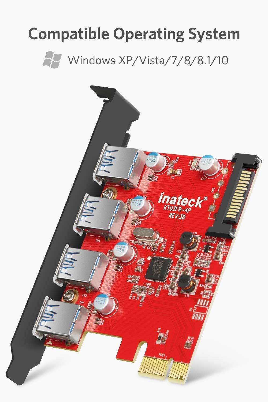 para  PC de escritorio PCI Express Tarjeta de 4 puertos USB Y-cable de 15 a 15 pines con cable de 4 pines para 2x15pin Inateck KTU3FR-4P 15 conectores PIN de alimentaci/ón SATA