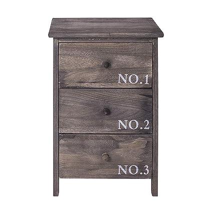 Rebecca Mobili Chiffonnier Gris, Commode petit espace, 3 Tiroirs, Style  Vintage, pour Chambre Salle de Bain – Dimensions: 55 x 35 x 30 cm (HxLxL) -  ...
