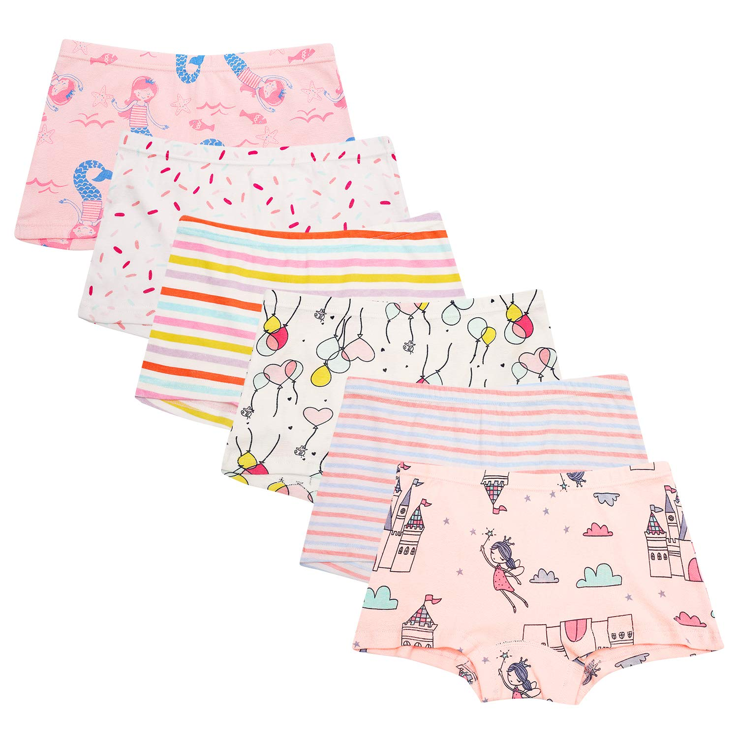 Cassiecy 6 Pack Little Girls Knickers Baby Girl Cotton Lovely Boxer Briefs Size 2-13 Years