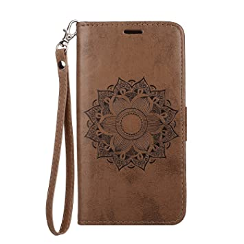 Brown PU Leather Wallet Cover Compatible with Samsung Galaxy S9 Flip Case for Samsung Galaxy S9