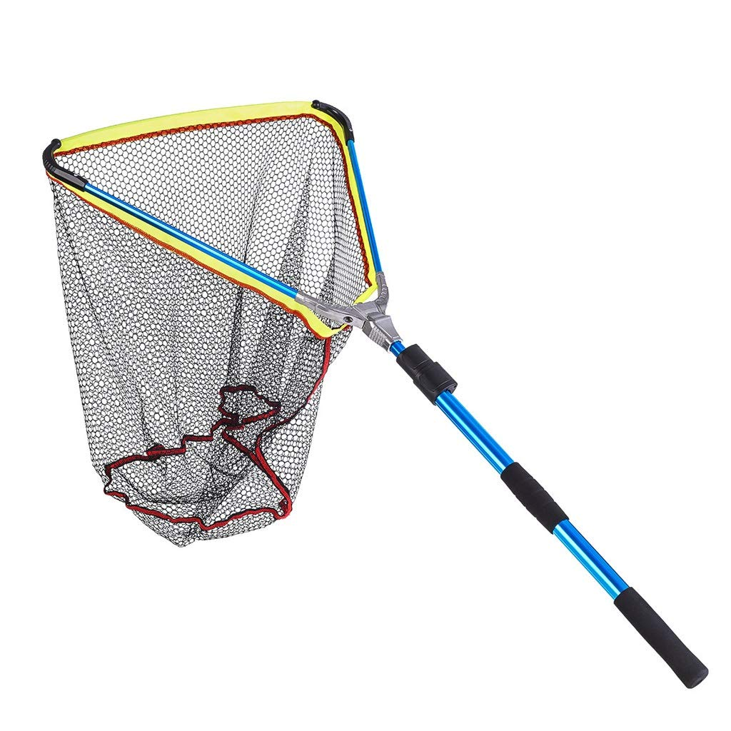 MYHXC Fishing Net Fish Landing Net, Foldable Collapsible Telescopic Pole Handle, Durable Aluminum Alloy Material Mesh, Safe Fish Catching or Releasing by MYHXC