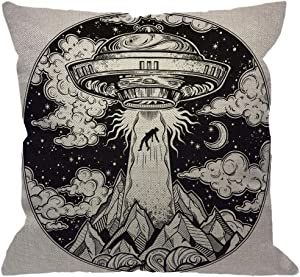 HGOD DESIGNS Alien Spaceship Throw Pillow Cover,UFO Abduction of A Human with Flying Saucer Icon Moon Mountain Black White Decorative Pillow Cases Square Cushion Covers for Home Sofa Couch 18x18 inch