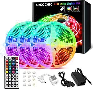 49.2FT LED Strip Lights, ARKOCHIC LED Lights Color Changing 5050 RGB Led Lights with 44 Keys IR Remote and 12V Power Supply for Bedroom, TV, Kitchen, Room, Party, Home Decorations