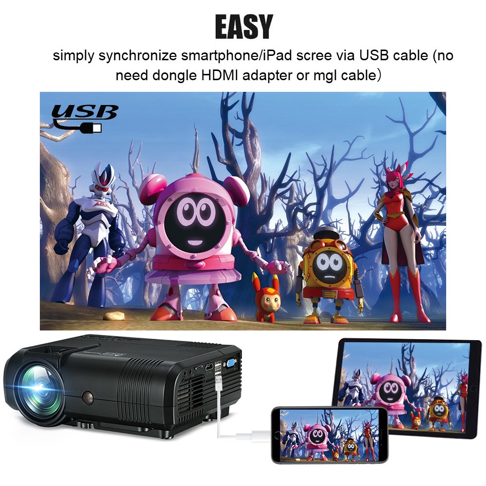 Projector, Weton 2200 Lumens Video Projector 1080P Portable Mini Projector Multimedia LED Projector Home Theater Movie Projector Support HDMI, USB, VGA, AV for IOS Android Smartphone (Plug and Play) by Weton (Image #2)