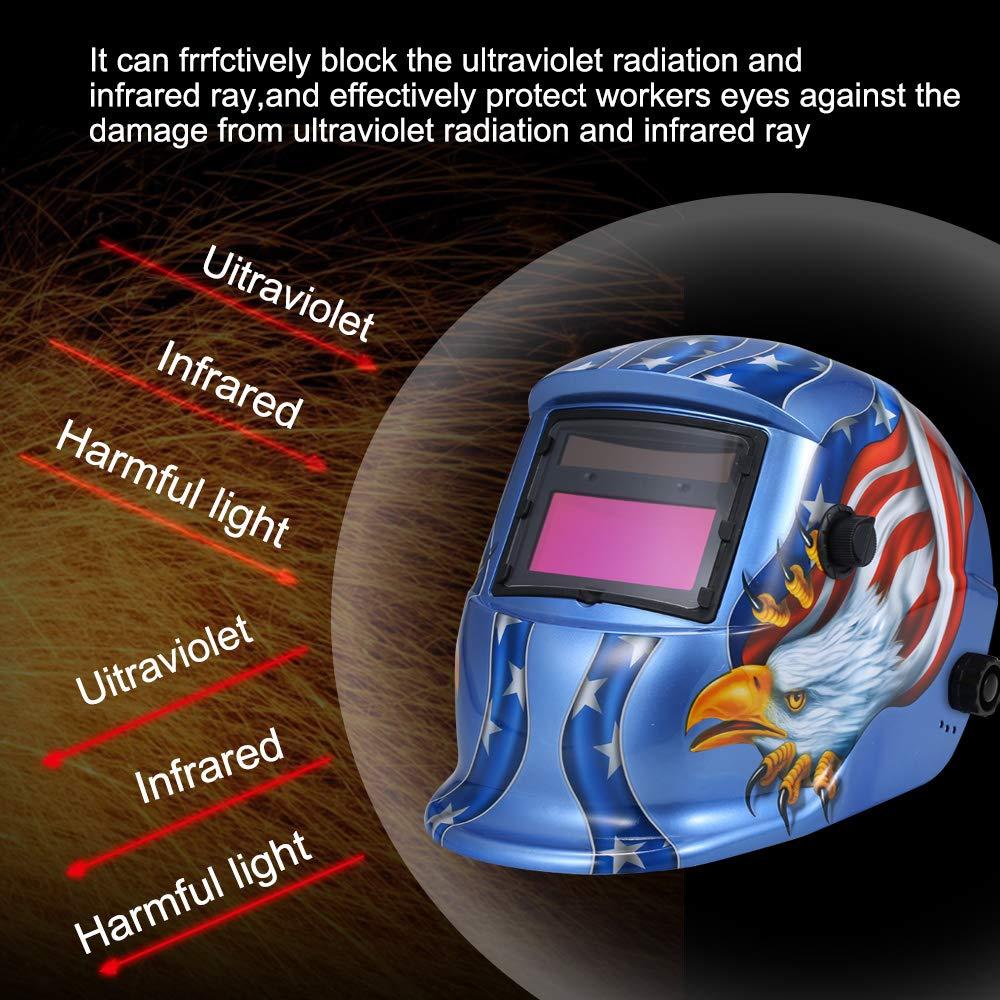 Festnight Casco de oscurecimiento autom/ático solar M/áscara de soldadura Escudo de soldadura autom/ática MIG TIG ARC Tapa protectora de soldadura con lente ajustable