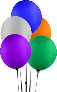 Reusable Balloon Cluster Kit with Ground Spike - Multi Color Balloons - No Helium - Weatherproof Balloons - 5 Durable Balloons and Pole Kit Included