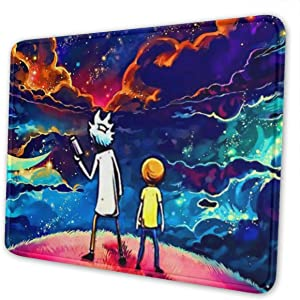 AIXIULEIDUN Rick & Morty Mouse Pad with Stitched Edge,Mouse Mat,Non-Slip Rubber Base Mousepad for Laptop,Desk Mat,Computer & Pc 7 X 8.6 in
