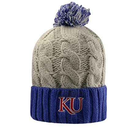 e8be53d141d Top of the World Kansas Jayhawks NCAA Pom Cuffed Knit Two Tone Beanie  Stocking Hat Cap
