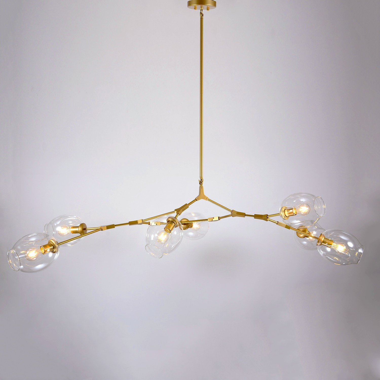 SUNWE Sasha 7 Light Gold Branching Bubble Chandelier Clear