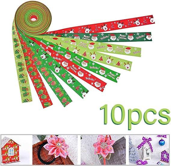 12 x 5yd 25 mm de ancho 60 m papel de regalo bricolaje Una variedad de dise/ños kuuqa 12 piezas cintas impresas para la decoraci/ón de Navidad