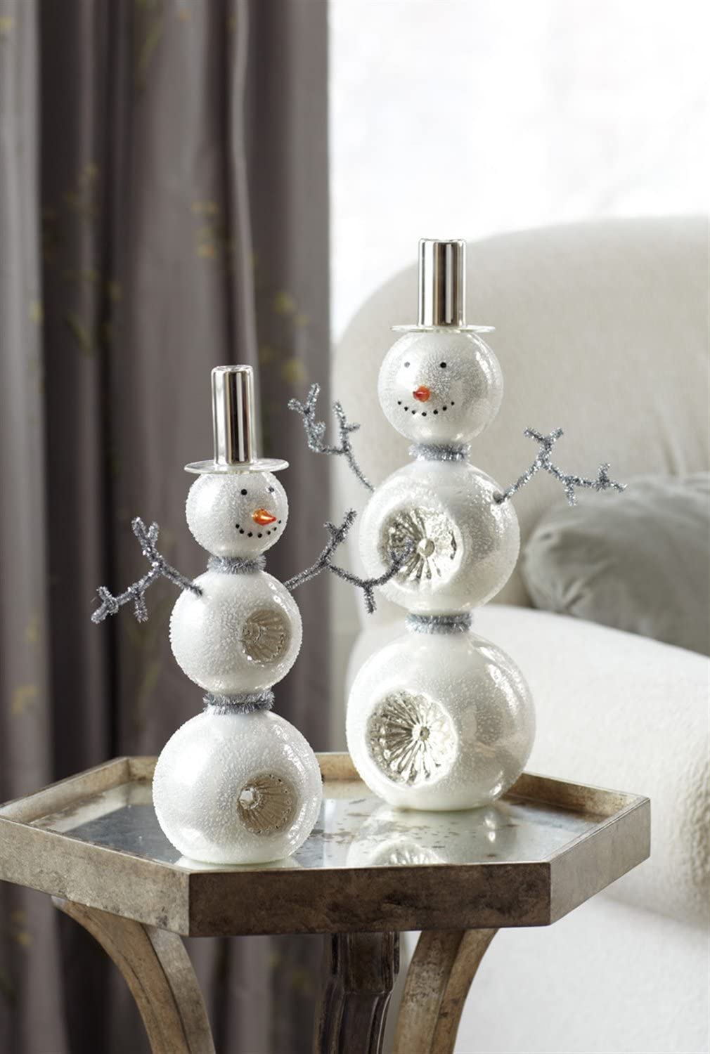 Set of 2 Glass Snowman Table Piece Figures Accented with Tinsel Arms 13