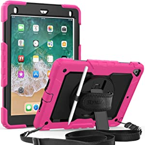iPad 5th/6th Generation 9.7 Case, 3 Layer Shockproof Case with [Built-in Screen Protector] Pencil Holder 360 Degree Rotatable Stand [Hand Strap] for iPad 5th/6th/Air 2/ Pro 9.7 Pink/Black