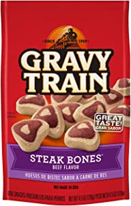 Gravy Train Steak Bones Beef Flavor Dog Snacks, 4.5 Oz (Pack Of 12)