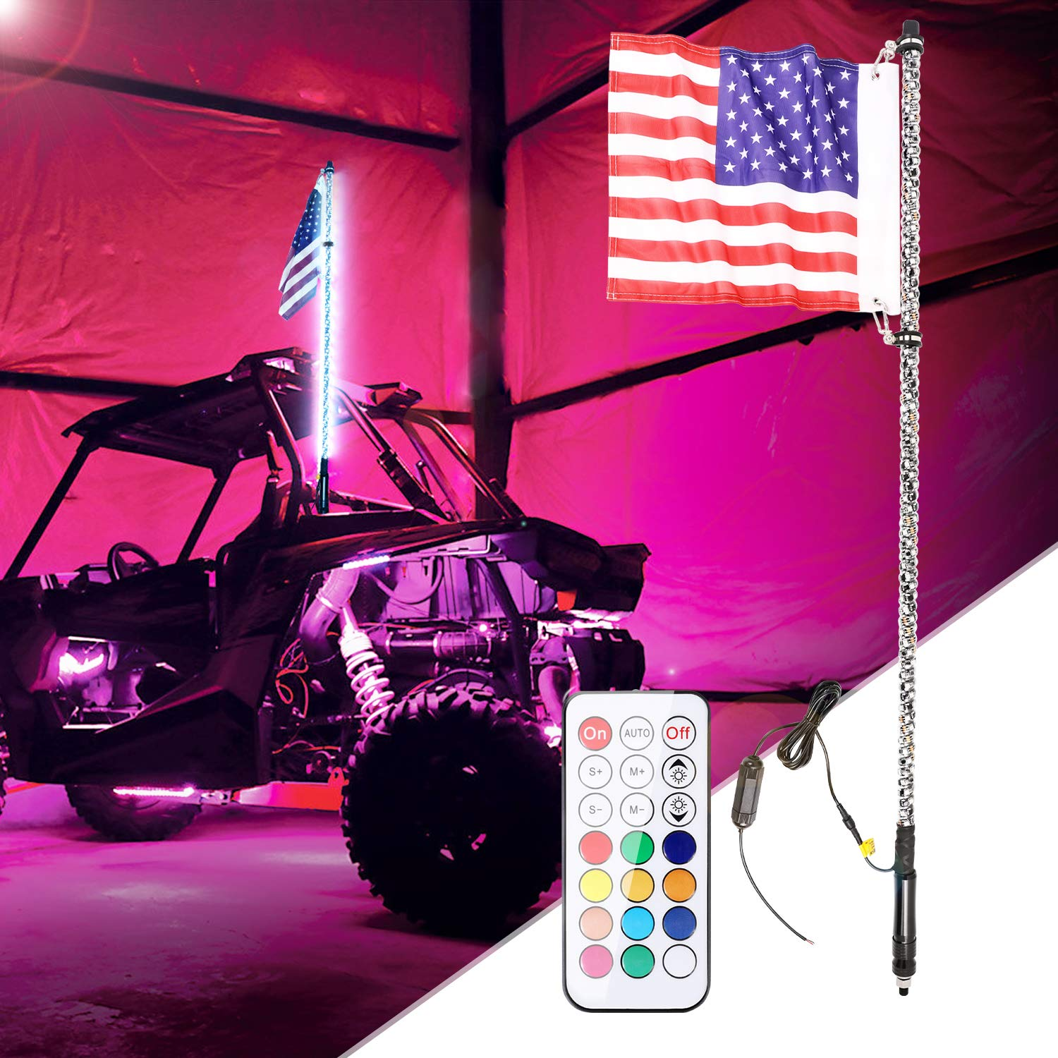 4FT LED Whip Lights SWATOW 4×4 RGB LED Chasing Light 360° Spiral LED Whips Wireless Remote Off Road Lighted Antenna LED Light for off-road, UTV, ATV, RZR, Dunes, Jeep, Trucks, Boat by SWATOW 4x4
