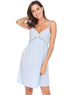 0068ad19ab Unibelle Women Chemise Nightgown V-Neck Full Slips Lace Sling Dress Sleepwear  S-XL