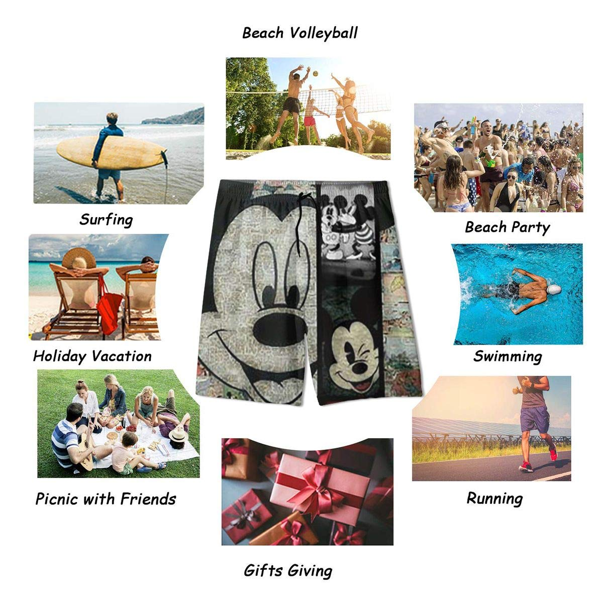 Xzcxyadd Mickey Mouse Background Mens Boys Casual Summer Quick Dry Trunks Beach Pant Swim /& Run Board Shorts with Pockets