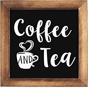 KU-DaYi Coffee and Tea Framed Block Sign 7 x 7 inches Rustic Farmhouse Style Solid Wood Sign Art Decor Standing On Shelf Table Friend Idea. (Black)