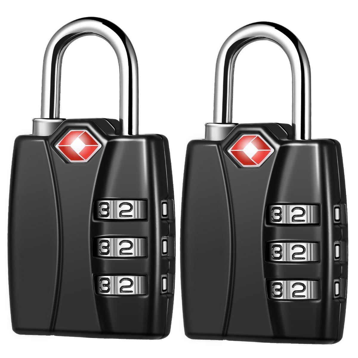 KeeKit Combination Locks, TSA Approved Luggage Locks with Open Alert Indicator, TSA Luggage Locks for Travel, Suitcase, Baggage & Backpack, Gym Locker (Black, 2 Pack) by KeeKit (Image #1)