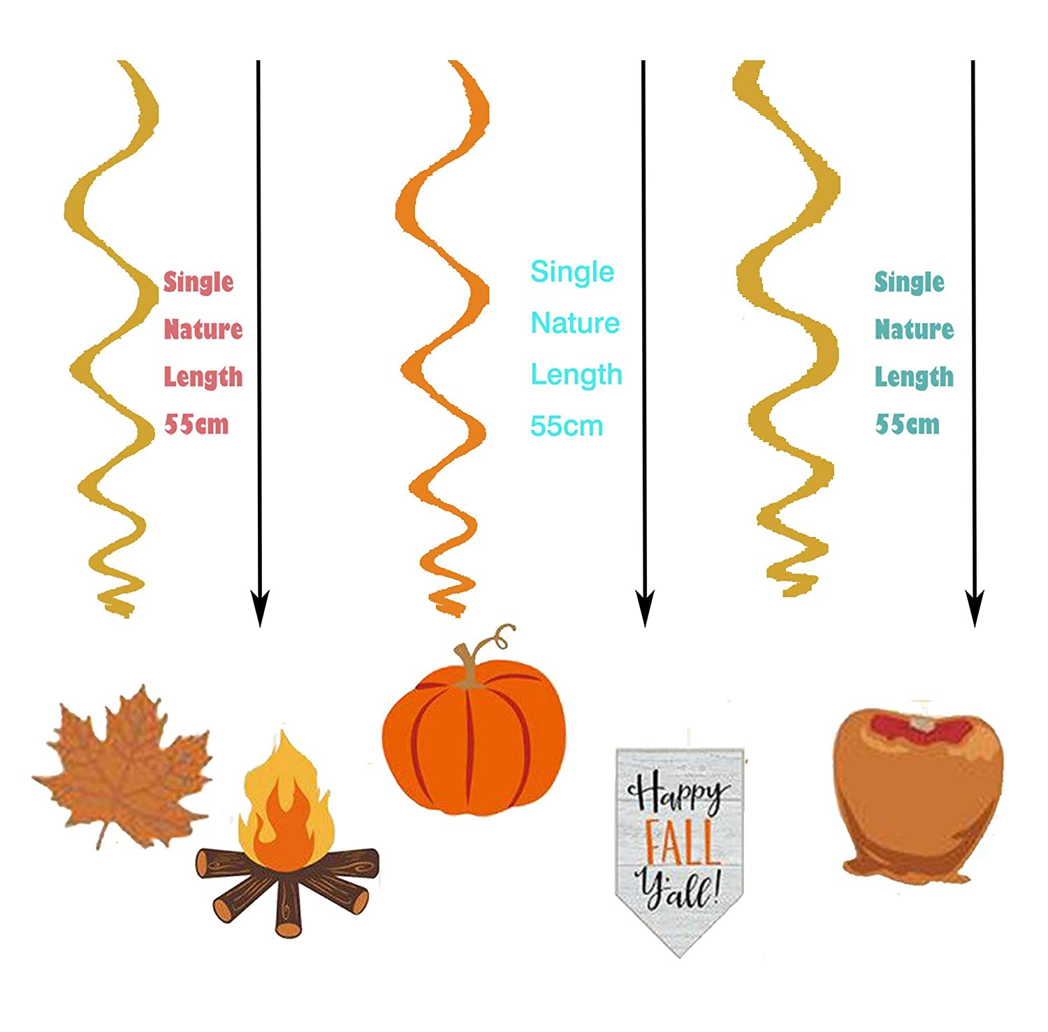 LHKSER 30Ct Thanksgiving Decorations Colors of Autumn Thanksgiving Party Foil Swirls with Hanging Cutouts Mega Value Pack Ceiling Decorations