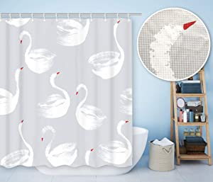 BECAN Swan Shower Curtain Concise Style Hand Painted White Swans Gray Background Waffle Jacquard Polyester Fabric Bathroom Shower Curtain with 12pcs Hooks 72X72 Inch