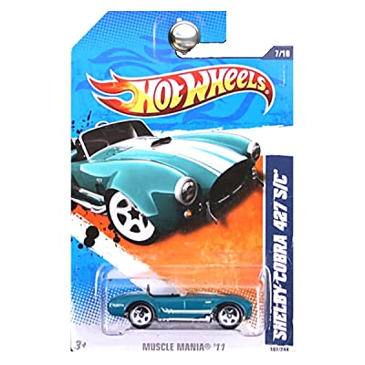 Hot Wheels 2011 Muscle Mania Shelby Cobra 427 S/C Blue Green Teal White Stripes: Toys & Games