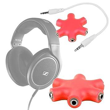 DURAGADGET Divisor De Auriculares Rojo Para Auriculares Sennheiser HD 598 | Aukey EP-B26 | NUBWO S1 Bluetooth 4.1 | Sunvito 4 en 1: Amazon.es: Electrónica