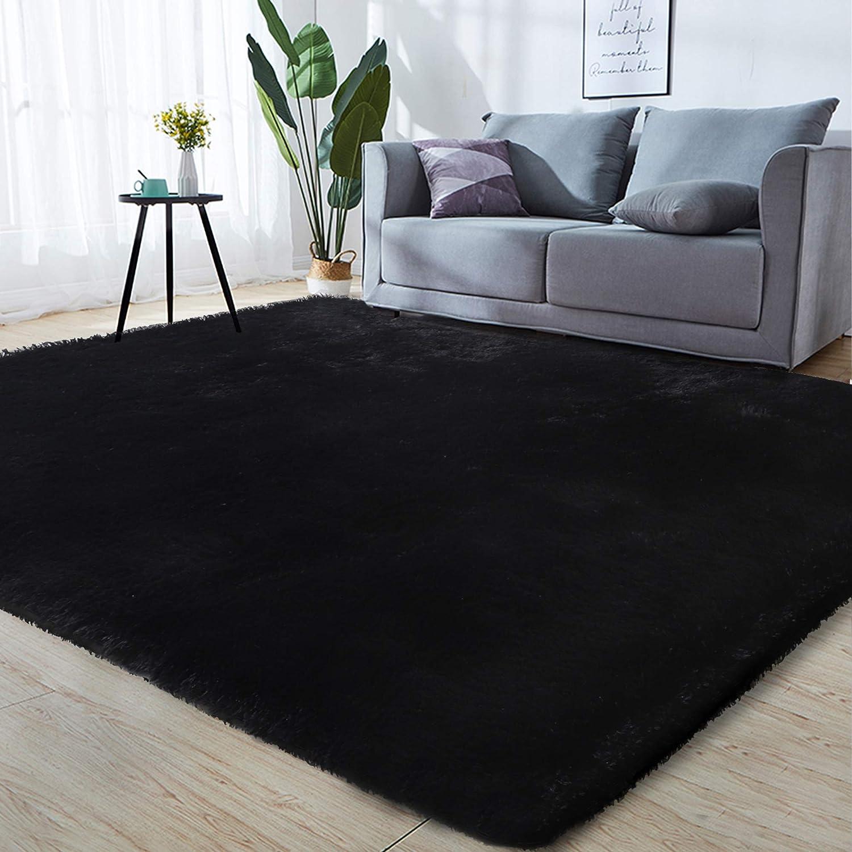 GKLUCKIN Shag Ultra Soft Area Rug, Fluffy 5'X7' Black Rugs Plush Fuzzy Non-Skid Indoor Faux Fur Rugs Furry Carpets for Living Room Bedroom Nursery Kids Playroom Decor