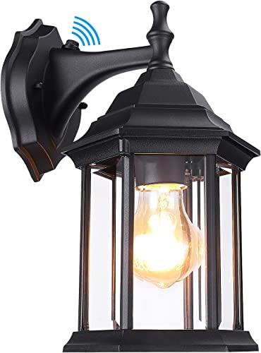 LEONLITE Dusk to Dawn Sensor Outdoor Wall Lantern, Exterior Wall Sconce Light Fixtures, UL Listed, Wall Mount Anti-Rust Mate Black Porch Light, Wet Location Available, Clear Glass Shade