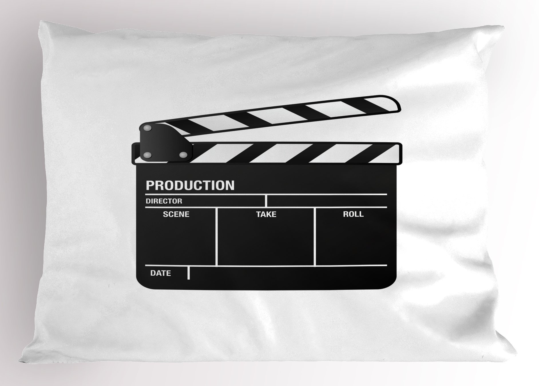 Ambesonne Movie Theater Pillow Sham, Realistic Illustration of a Clapper Board Symbol for Film and Video Industry, Decorative Standard Queen Size Printed Pillowcase, 30 X 20 inches, Black White